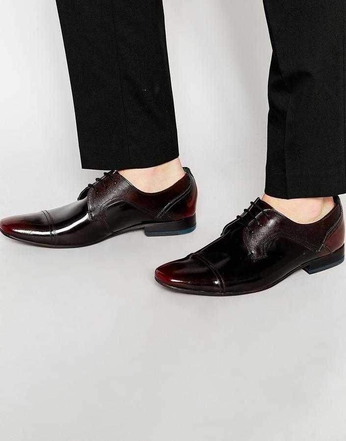 Ted Baker Mens Jorett High Shine Derby Shoes Gray - Boots