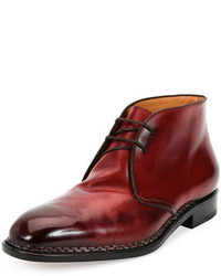 Ferragamo palermo 2 tramezza special edition burnished calfskin chukka boot with norwegian welt red medium 380486