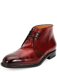 Salvatore Ferragamo Palermo 2 Tramezza Special Edition Burnished Calfskin Chukka Boot With Norwegian Welt Red