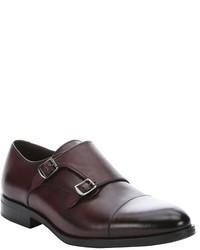 a. testoni Burgundy Calfskin Dual Monkstrap Loafers