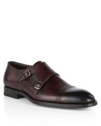 Hugo Boss T Legom Italian Leather Double Monk Strap Dress Shoes 9 Red