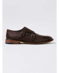 Topman Burgundy Leather Monk Shoes