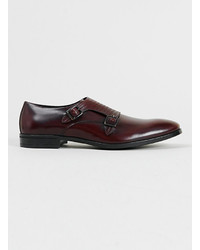 Topman Logan Burgundy Leather Monk Shoes