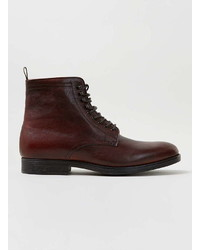 Topman Burgundy Leather Lace Up Boots