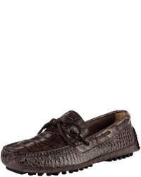 Cole Haan Grant Canoe Reptile Texture Moccasin Chestnut