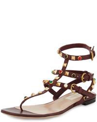 Rockstud leather flat sandal burgundy medium 1154931