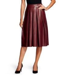 Vegan Leather Pleated Midi Skirt Burgundy Leyden