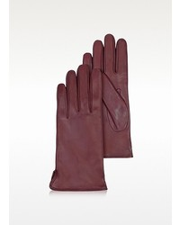 Forzieri Burgundy Cashmere Lined Italian Leather Gloves