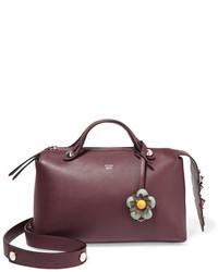 Fendi By The Way Small Embellished Floral Appliqud Leather Shoulder Bag Burgundy