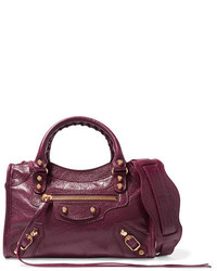 Balenciaga Classic City Mini Leather Shoulder Bag Burgundy