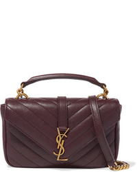 College quilted leather shoulder bag burgundy medium 851063