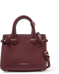 Burberry London Mini Checked Canvas Paneled Textured Leather Shoulder Bag Burgundy