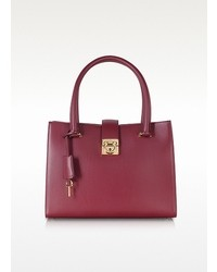 Salvatore Ferragamo Top Handle Burgundy Leather Tote
