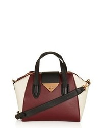 Topshop Faux Leather Mini Evening Bag Burgundy