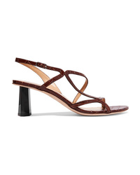 BY FA Brigette Croc Effect Leather Slingback Sandals