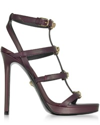 Versace Burgundy Leather Sandal Wlight Gold Medusa