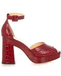 Charlotte Olympia Elie Block Heel Leather Sandals
