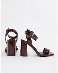 New Look Croc Effect Heeled Sandal