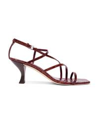 Staud Gita Croc Effect Leather Sandals