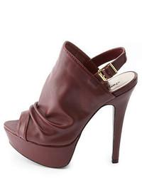 PeepToe Slouchy Slingback Peep Toe Platform Heels