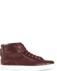 High Burgundy Leather Fashion Top Sneakers WomenWomen's For ARLq354j