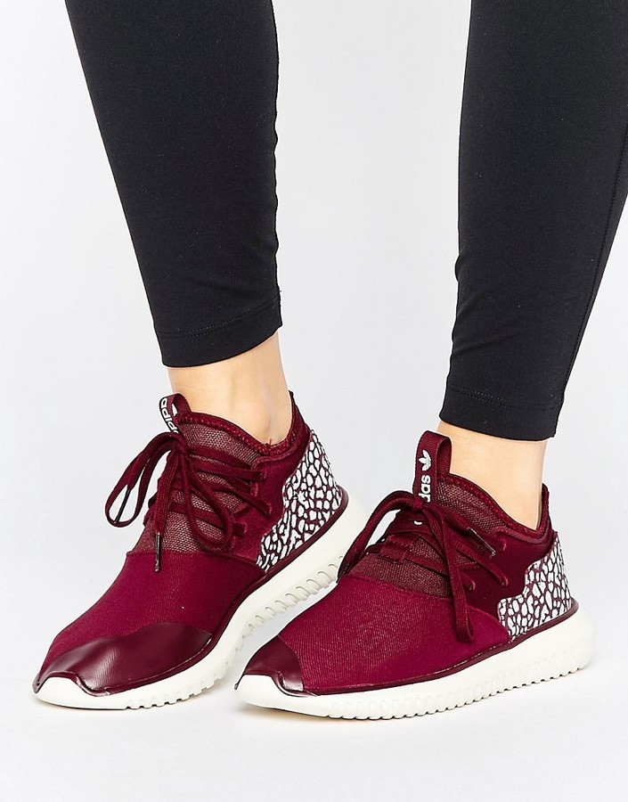 $60, adidas Originals Maroon Tubular Sneakers With Cracked Leather Detail