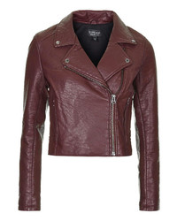 Topshop Burgundy Textured Faux Leather Biker Jacket With Zip Pockets And Anthracite Trims 100% Polyurethane Dry Clean Only