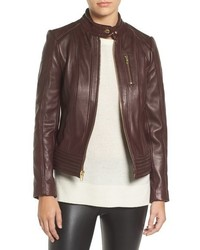 MICHAEL Michael Kors Michl Michl Kors Band Collar Front Zip Leather Jacket
