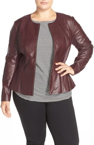 official images shades of recognized brands $379, Sejour Plus Size Leather Peplum Jacket
