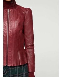 Mango Puffed Leather Jacket