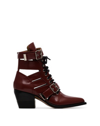 Chloé Burgundy Reilly 60 Embellished Ankle Boots