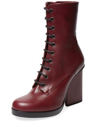 Jil Sander High Heel Lace Up Leather Boot