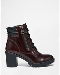 Steve Madden Noodless Burgundy Lace Up Heeled Boots