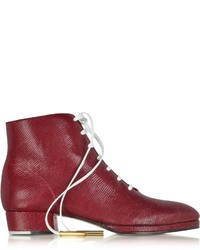 Zoe Lee Zachary Red Lizard Embossed Lace Up Bootie