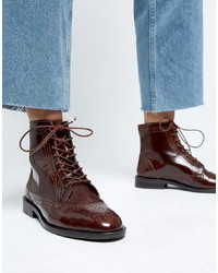 ASOS DESIGN Aliance Leather Lace Up Brogue Boots