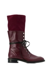 Stuart Weitzman Layered Lace Up Boots