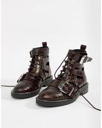 ASOS DESIGN Premium Archer Leather Cut Out Ankle Boots