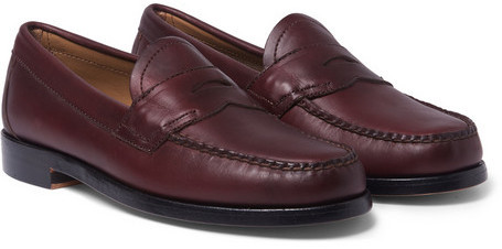 8df1a3583cd ... Burgundy Leather Loafers Bass Weejuns Logan Leather Penny Loafers ...