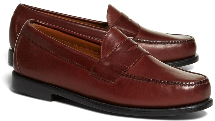 a4be2cfc59d ... Leather Loafers Brooks Brothers Classic Penny Loafers ...