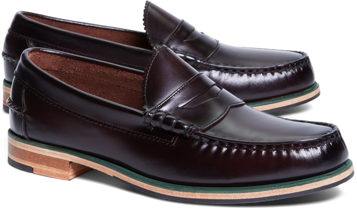 14e56518740 ... Brooks Brothers Tumbled Leather Popped Midsole Penny Loafers ...
