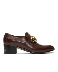 Gucci Burgundy Leather Horsebit Chain Loafers