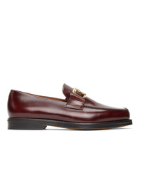 Lanvin Burgundy Swan Loafers
