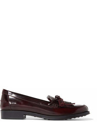 Tod's Fringed Glossed Leather Loafers Burgundy