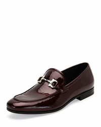 Salvatore Ferragamo Patent Leather Gancio Loafer Bordeaux