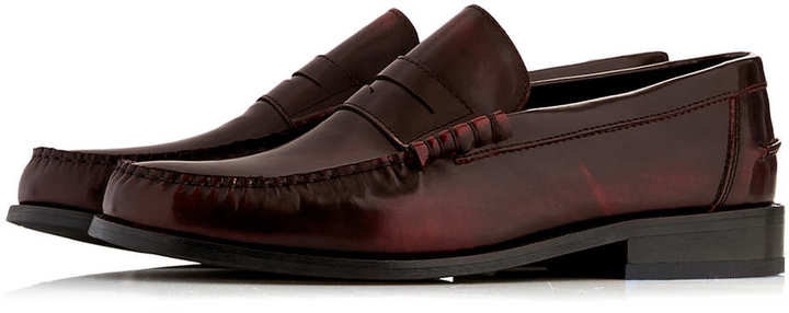 de4be770a57 ... Topman Burgundy Leather Penny Loafers ...