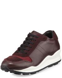 Leather low top sneaker mahogany medium 1140651