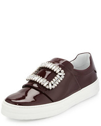 Leather strass buckle sneaker burgundy medium 648314