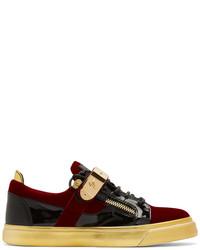 97969267e495 ... Giuseppe Zanotti Red And Black Velvet London Sneakers