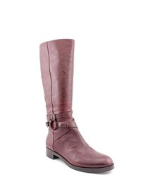 Burgundy Leather Mid-Calf Boots