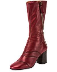 Chloe side zip leather 70mm mid calf boot deep plum medium 693052